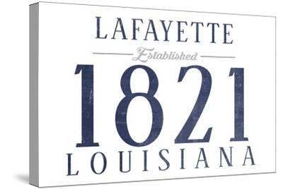 Lafayette, Louisiana - Established Date (Blue)-Lantern Press-Stretched Canvas Print
