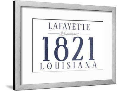 Lafayette, Louisiana - Established Date (Blue)-Lantern Press-Framed Art Print