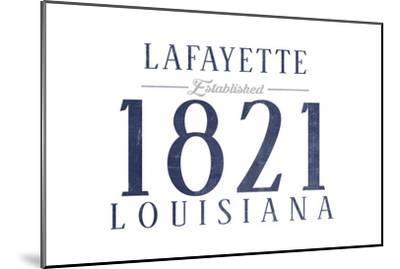 Lafayette, Louisiana - Established Date (Blue)-Lantern Press-Mounted Art Print