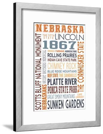 Nebraska - Typography-Lantern Press-Framed Art Print
