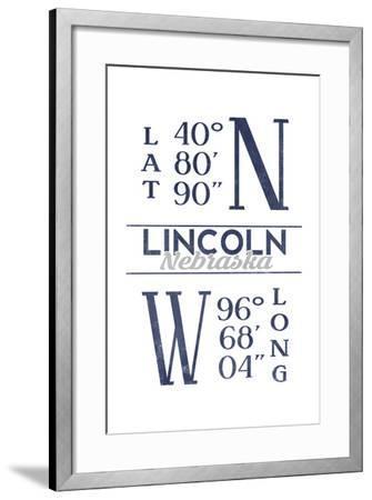 Lincoln, Nebraska - Latitude and Longitude (Blue)-Lantern Press-Framed Art Print