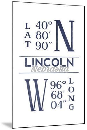 Lincoln, Nebraska - Latitude and Longitude (Blue)-Lantern Press-Mounted Art Print