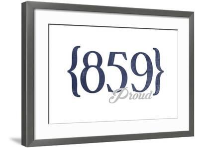 Lexington, Kentucky - 859 Area Code (Blue)-Lantern Press-Framed Art Print