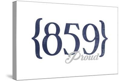 Lexington, Kentucky - 859 Area Code (Blue)-Lantern Press-Stretched Canvas Print