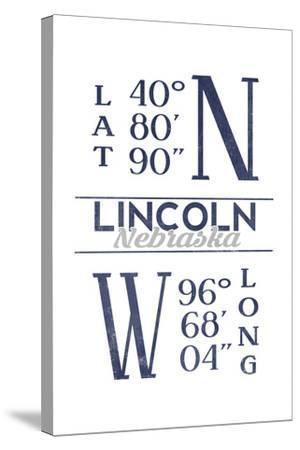 Lincoln, Nebraska - Latitude and Longitude (Blue)-Lantern Press-Stretched Canvas Print