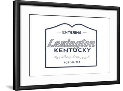 Lexington, Kentucky - Now Entering (Blue)-Lantern Press-Framed Art Print