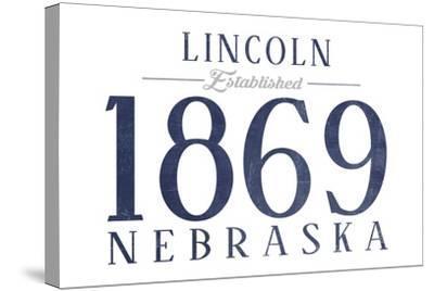 Lincoln, Nebraska - Established Date (Blue)-Lantern Press-Stretched Canvas Print
