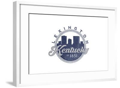 Lexington, Kentucky - Skyline Seal (Blue)-Lantern Press-Framed Art Print
