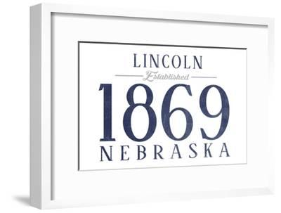 Lincoln, Nebraska - Established Date (Blue)-Lantern Press-Framed Art Print