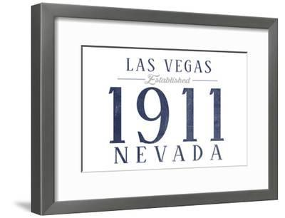 Las Vegas, Nevada - Established Date (Blue)-Lantern Press-Framed Art Print