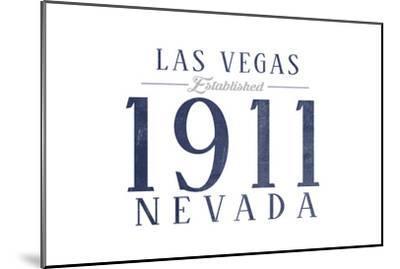 Las Vegas, Nevada - Established Date (Blue)-Lantern Press-Mounted Art Print