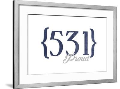 Lincoln, Nebraska - 531 Area Code (Blue)-Lantern Press-Framed Art Print