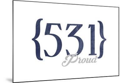 Lincoln, Nebraska - 531 Area Code (Blue)-Lantern Press-Mounted Art Print