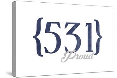 Lincoln, Nebraska - 531 Area Code (Blue)-Lantern Press-Stretched Canvas Print