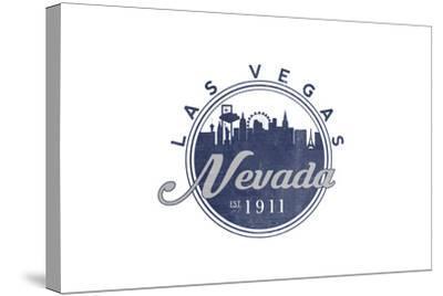 Las Vegas, Nevada - Skyline Seal (Blue)-Lantern Press-Stretched Canvas Print