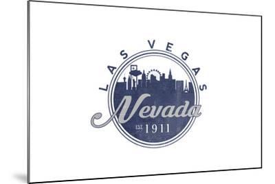 Las Vegas, Nevada - Skyline Seal (Blue)-Lantern Press-Mounted Art Print