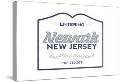 Newark, New Jersey - Now Entering (Blue)-Lantern Press-Stretched Canvas Print