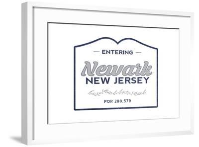 Newark, New Jersey - Now Entering (Blue)-Lantern Press-Framed Art Print