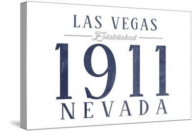Las Vegas, Nevada - Established Date (Blue)-Lantern Press-Stretched Canvas Print