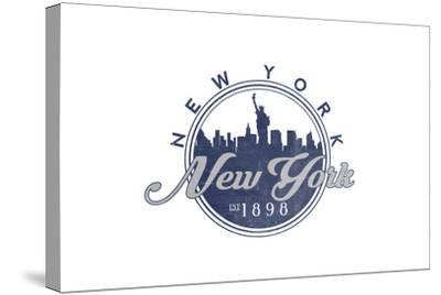 New York, New York - Skyline Seal (Blue)-Lantern Press-Stretched Canvas Print
