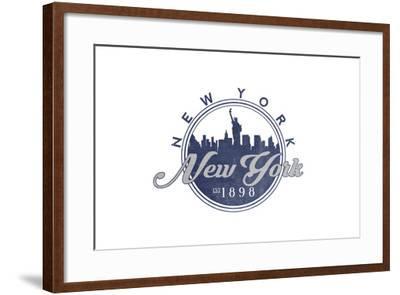 New York, New York - Skyline Seal (Blue)-Lantern Press-Framed Art Print