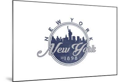 New York, New York - Skyline Seal (Blue)-Lantern Press-Mounted Art Print