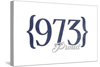 Newark, New Jersey - 973 Area Code (Blue)-Lantern Press-Stretched Canvas Print