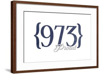 Newark, New Jersey - 973 Area Code (Blue)-Lantern Press-Framed Art Print