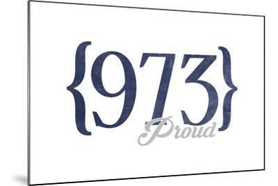 Newark, New Jersey - 973 Area Code (Blue)-Lantern Press-Mounted Art Print