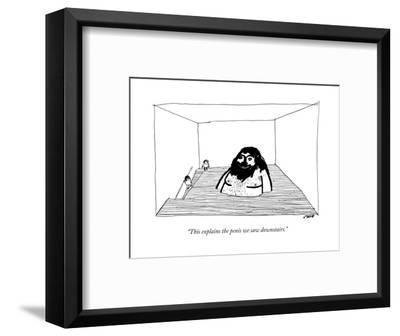 """""""This explains the penis we saw downstairs."""" - New Yorker Cartoon-Edward Steed-Framed Premium Giclee Print"""