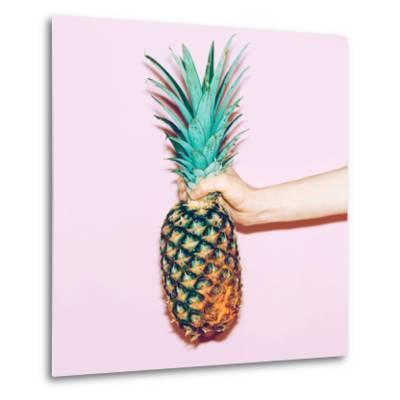 Pineapple in Hand. Fashion Minimal Design Style-Porechenskaya-Metal Print