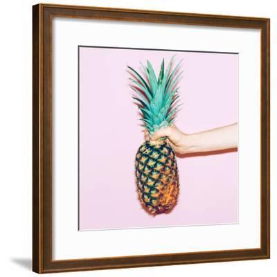 Pineapple in Hand. Fashion Minimal Design Style-Porechenskaya-Framed Photographic Print