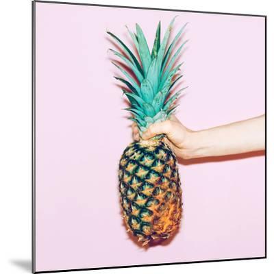 Pineapple in Hand. Fashion Minimal Design Style-Porechenskaya-Mounted Photographic Print