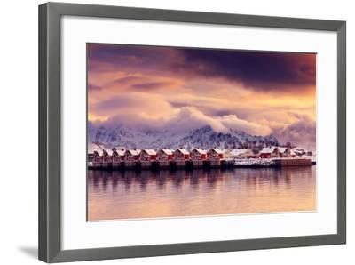 Sunset on Svolvaer-Philippe Sainte-Laudy-Framed Photographic Print