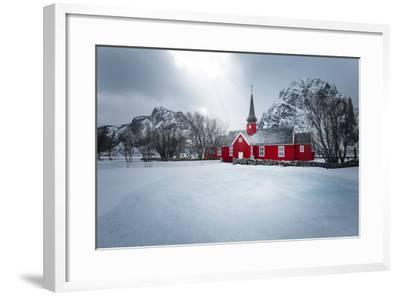 Flakstad Church-Philippe Sainte-Laudy-Framed Photographic Print