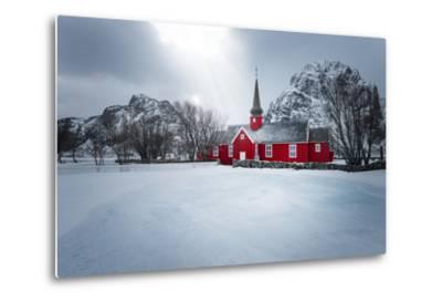 Flakstad Church-Philippe Sainte-Laudy-Metal Print
