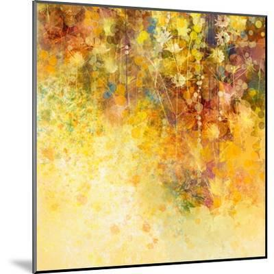 Abstract Watercolor Painting White Flowers and Soft Color Leaves-Nongkran_ch-Mounted Art Print