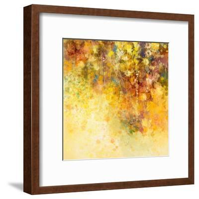 Abstract Watercolor Painting White Flowers and Soft Color Leaves-Nongkran_ch-Framed Art Print