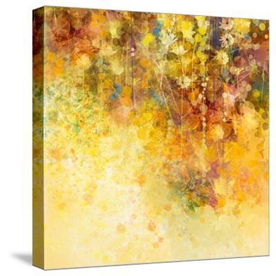 Abstract Watercolor Painting White Flowers and Soft Color Leaves-Nongkran_ch-Stretched Canvas Print