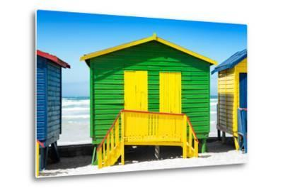 Awesome South Africa Collection - Colorful Beach Huts - Green & Yellow-Philippe Hugonnard-Metal Print