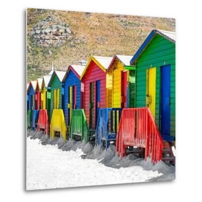 Awesome South Africa Collection Square - Colorful Beach Huts on Muizenberg - Cape Town II-Philippe Hugonnard-Metal Print