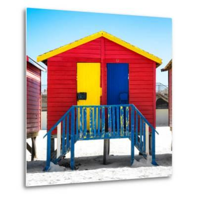 """Awesome South Africa Collection Square - Colorful Beach Huts """"Seven"""" Red-Philippe Hugonnard-Metal Print"""