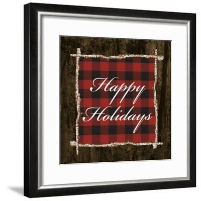 Happy Holidays on Plaid-Gina Ritter-Framed Art Print