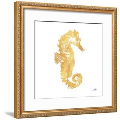 Gold Square Seahorse I-Julie DeRice-Framed Art Print