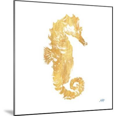 Gold Square Seahorse I-Julie DeRice-Mounted Art Print