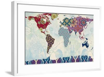 Patchwork World Map-Lanie Loreth-Framed Art Print