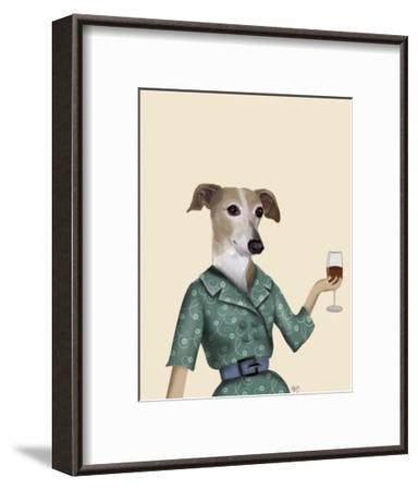 Greyhound Wine Snob-Fab Funky-Framed Art Print