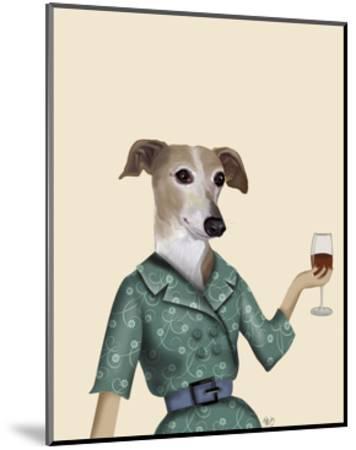 Greyhound Wine Snob-Fab Funky-Mounted Art Print