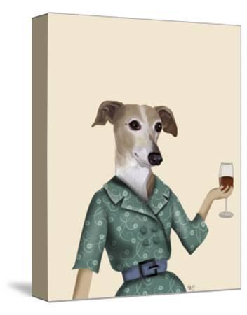 Greyhound Wine Snob-Fab Funky-Stretched Canvas Print