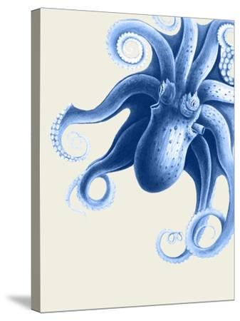 Blue Octopus on Cream f-Fab Funky-Stretched Canvas Print